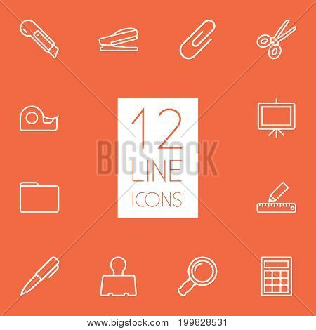 Collection Of Puncher, Zoom Glasses, Calculator And Other Elements.  Set Of 12 Tools Outline Icons Set.