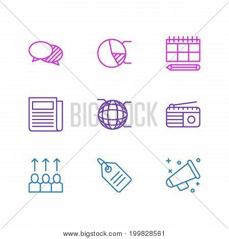 Editable Pack Of Announcement, Daily Press, Advancement And Other Elements.  Vector Illustration Of 9 Marketing Icons.