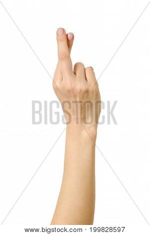 Woman's Hand Showing Crossed Fingers Lie Symbol