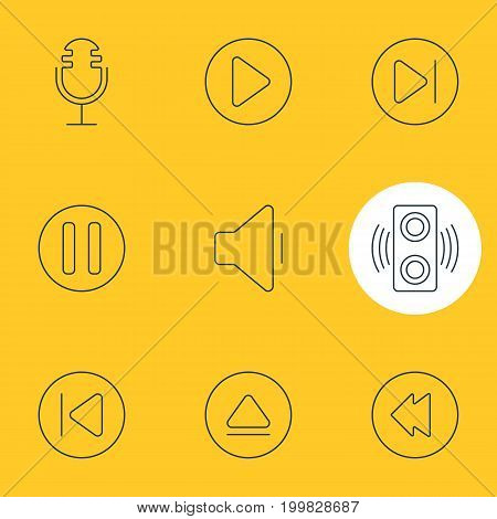 Editable Pack Of Subsequent, Reversing, Mike And Other Elements.  Vector Illustration Of 9 Music Icons.