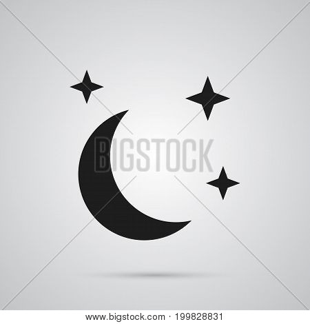Isolated Moon With Star Icon Symbol On Clean Background
