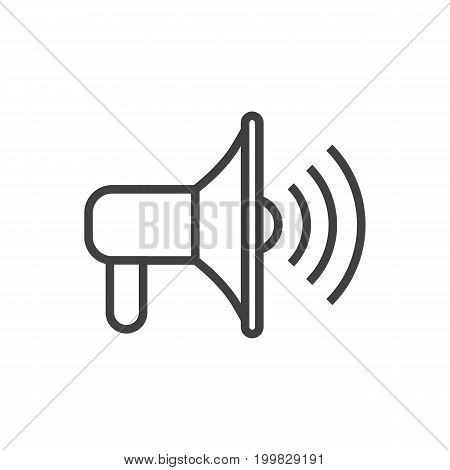 Vector Promotion Element In Trendy Style.  Isolated Bullhorn Outline Symbol On Clean Background.