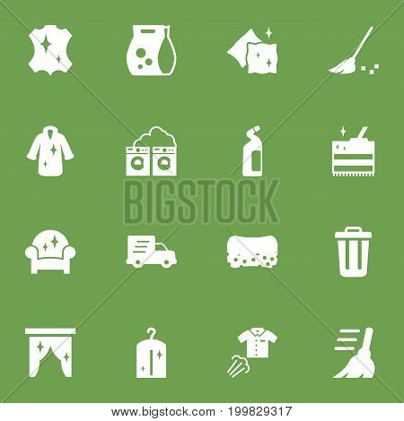 Collection Of Broom, Dry, Washing Powder And Other Elements.  Set Of 16 Cleaning Icons Set.