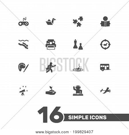 Collection Of Drawing, Jigsaw, Photo Camera And Other Elements.  Set Of 16 Lifestyle Icons Set.