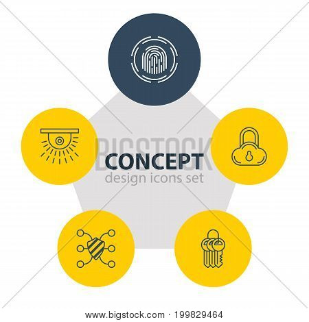 Editable Pack Of Camera, Safeguard, Finger Identifier And Other Elements.  Vector Illustration Of 5 Privacy Icons.