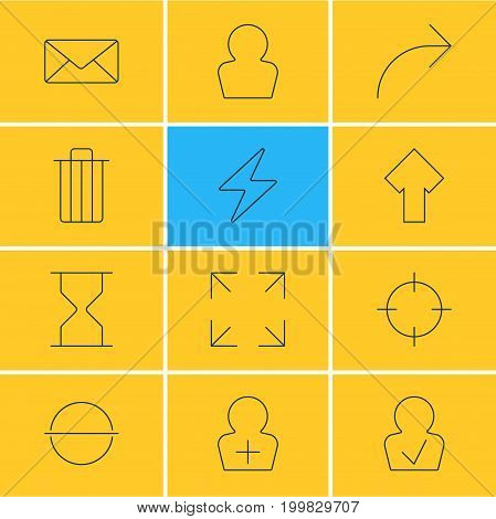 Editable Pack Of Garbage, Hourglass, Envelope And Other Elements.  Vector Illustration Of 12 User Icons.
