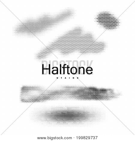 Halfton stains collection. Vintage vector halftone backgrounds. Set of dotted blots. Applicable for web and print design