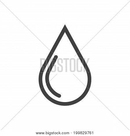 Vector Water Drop Element In Trendy Style.  Isolated Blob Outline Symbol On Clean Background.