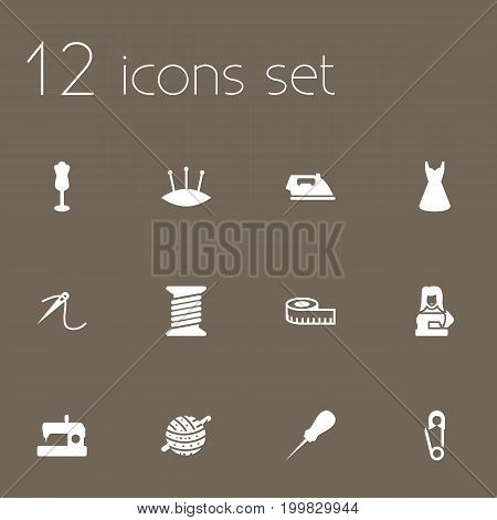 Collection Of Pins, Meter, Eyelet And Other Elements.  Set Of 12 Stitch Icons Set.