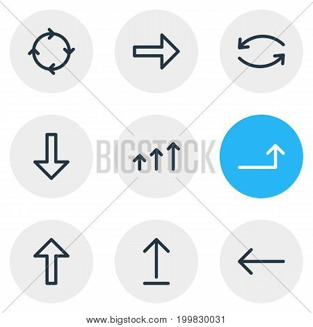 Editable Pack Of Right, Download, Submit And Other Elements.  Vector Illustration Of 9 Direction Icons.