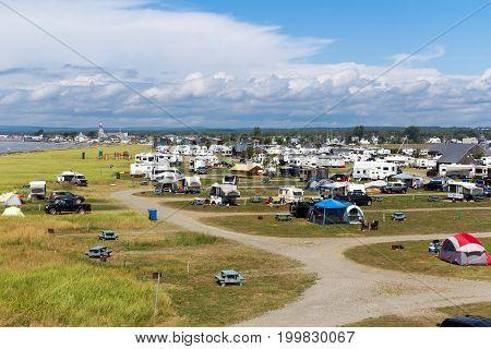 Bonaventure Canada-13 August 2017 : Camping Plage Beaubassin at Bonaventure village of Gaspesie Quebec Canada in summer