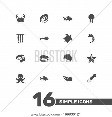 Collection Of Calamary, Stingray, Crustaceans And Other Elements.  Set Of 16 Seafood Icons Set.