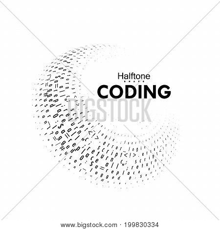 Streaming code 3d vector shape. Coding, programming or hacking concept. Computer science illustration. Software development logo