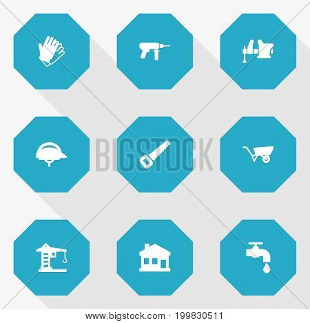 Collection Of Building Machinery, Gauntlet, Electric Screwdriver And Other Elements.  Set Of 9 Work Icons Set.