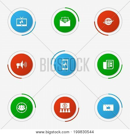 Collection Of Like, World, Message And Other Elements.  Set Of 9 Trade Icons Set.