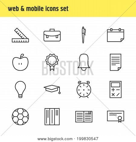 Editable Pack Of Meter, Cap, Bulb And Other Elements.  Vector Illustration Of 16 Science Icons.