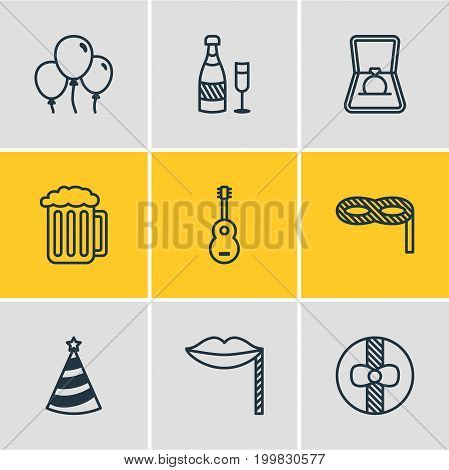 Editable Pack Of Musical Instrument, Gift, Draught And Other Elements.  Vector Illustration Of 9 Banquet Icons.