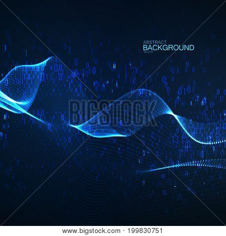 Abstract glowing virtual neon wave with chaotic binary code particles. Futuristic vector with fluid digits 1, 0. Coding or programming concept. Neural network or artificial intelligence concept.