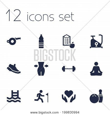Collection Of Sneakers, Meditate, Running And Other Elements.  Set Of 12 Fitness Icons Set.