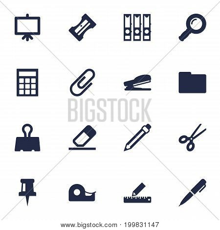Collection Of Puncher, Clip, Supplies And Other Elements.  Set Of 16 Tools Icons Set.