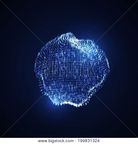 Cloud technologies. Abstract virtual digital sphere of binary code particles. Futuristic vector illustration. Neon glowing cloud structure. Internet or cyberspace technology concept. Neural network.