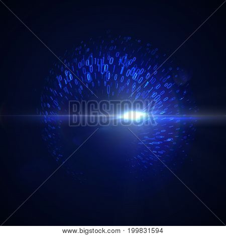 Abstract virtual digital flow of binary code particles. Futuristic vector illustration with flowing digits 1, 0. Neon glowing cloud structure. Cryptography or virtual security concept.