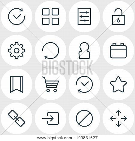 Editable Pack Of Rating, Gear, Padlock And Other Elements.  Vector Illustration Of 16 App Icons.