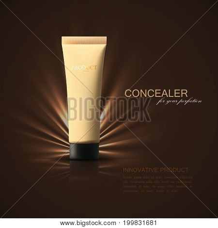 Concealer or foundation beige tube ad poster. Cosmetic product template. Makeup beauty illustration. 3d realistic vector. Packaging mockup design. Facial tone cream package.
