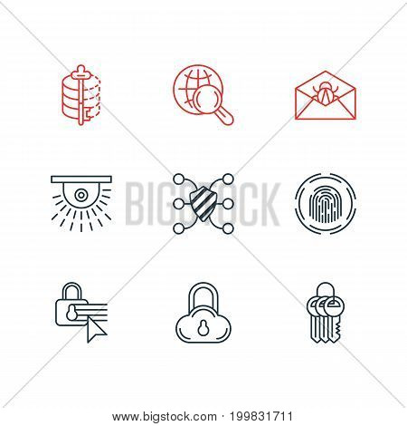 Editable Pack Of Camera, Key Collection, Safe Storage And Other Elements.  Vector Illustration Of 9 Privacy Icons.