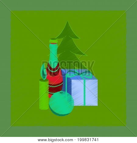 flat shading style icon of Christmas tree champagne