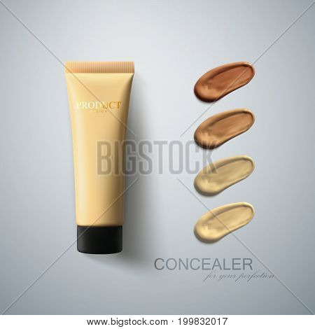 Liquid foundation cream tube with smear strokes. Cosmetic product advertising poster. Women beauty illustration. Facial concealer for makeup. Tone cream daubs. Packaging design. 3d realistic vector