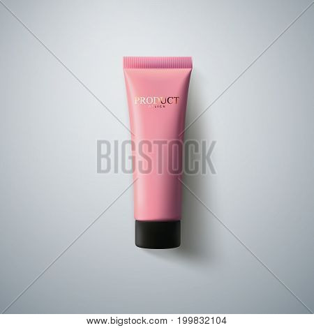 Cosmetic packaging design. Pink cream tube. 3d realistic vector illustration. Cosmetics mockup for branding. Beauty makeup product. Top view