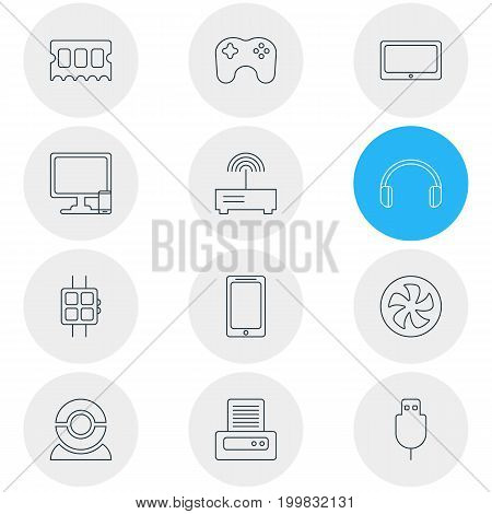 Editable Pack Of Gamepad, Cooler, Memory Chip And Other Elements.  Vector Illustration Of 12 Laptop Icons.
