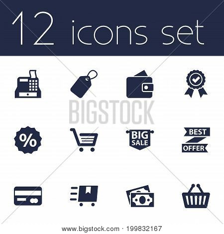 Collection Of Basket, Cargo, Label And Other Elements.  Set Of 12 Store Icons Set.