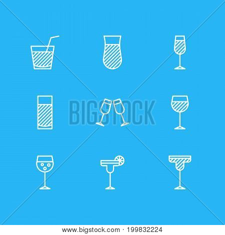 Editable Pack Of Goblet, Celebrate, Wineglass And Other Elements.  Vector Illustration Of 9 Drinks Icons.