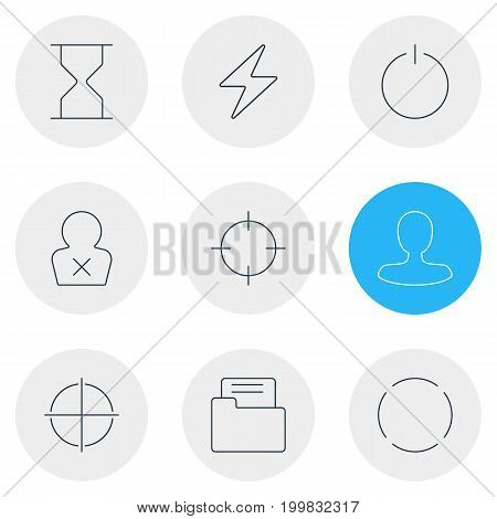 Editable Pack Of Banned Member, Bolt, Hourglass And Other Elements.  Vector Illustration Of 9 Interface Icons.