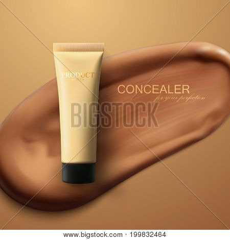 Concealer cream package on smear stroke background. Cosmetic product advertising poster. Women beauty makeup illustration. Liquid foundation. Tone cream tube. Packaging design. 3d realistic vector