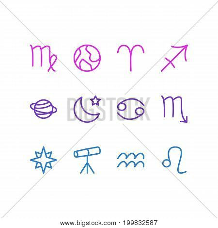 Editable Pack Of Zodiac Sign, Archer, Virgin And Other Elements.  Vector Illustration Of 12 Galaxy Icons.