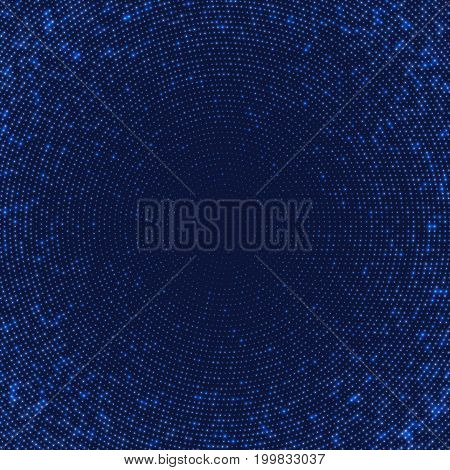Dark blue abstract background with light circles. Geometric mosaic technology graphic element.