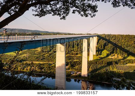 The Moselle viaduct A61 highway bridge in summer near Koblenz Rhineland-Palatinate Germany. (Moseltalbrucke)