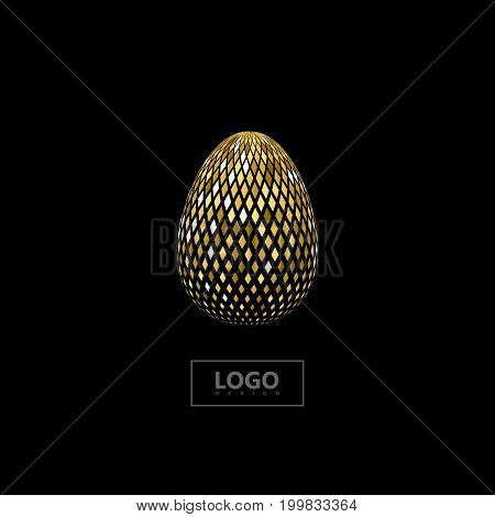Golden mosaic spherical shape isolated on black background. Vector halftone glittering egg shape. Dynamic element for logo design. Applicable for web and print design. Business or social concept