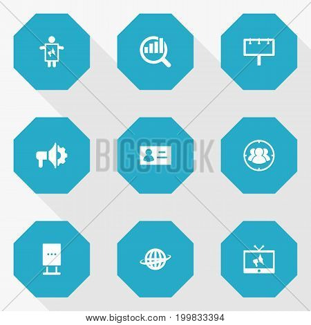 Collection Of Market, Group, Id And Other Elements.  Set Of 9 Advertising Icons Set.