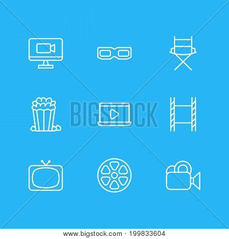 Editable Pack Of Filmstrip, Movie Reel, Television And Other Elements.  Vector Illustration Of 9 Cinema Icons.