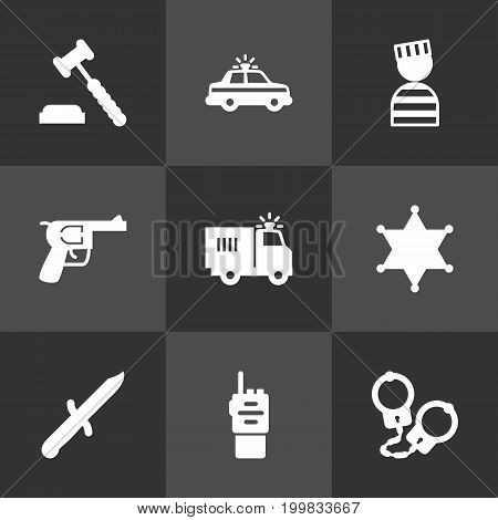 Collection Of Bayonet, Judge Gavel, Prisoner And Other Elements.  Set Of 9 Crime Icons Set.