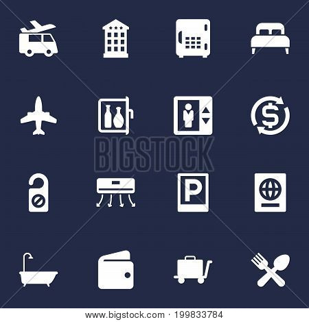 Collection Of Citizenship, Bedroom, Bathtub And Other Elements.  Set Of 16 Motel Icons Set.