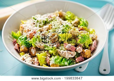 Chicken caesar salad with bacon, parmesan and herb croutons