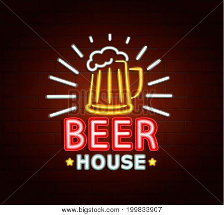 Neon sign of beer house, bright signboard, light banner. Beer house logo, emblem and symbol. Vector illustration.