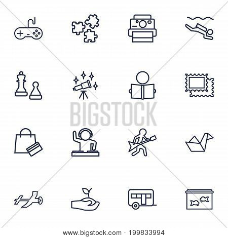 Collection Of Stamps, Photography, Diving And Other Elements.  Set Of 16 Entertainment Outline Icons Set.