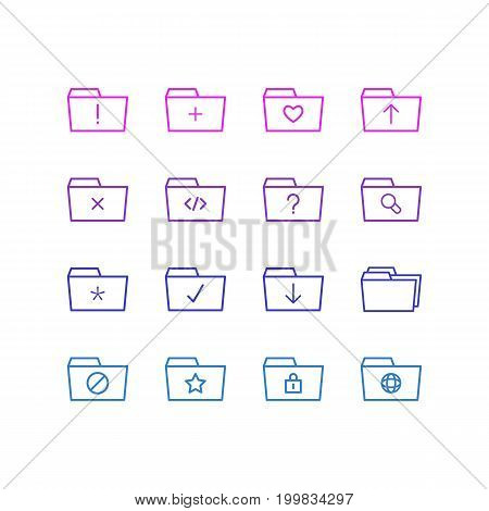 Editable Pack Of Script, Closed, Remove And Other Elements.  Vector Illustration Of 16 Dossier Icons.