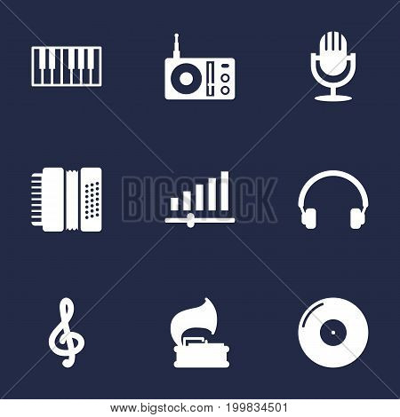 Collection Of Earphones, Octave Keyboard, Harmonica And Other Elements.  Set Of 9 Music Icons Set.
